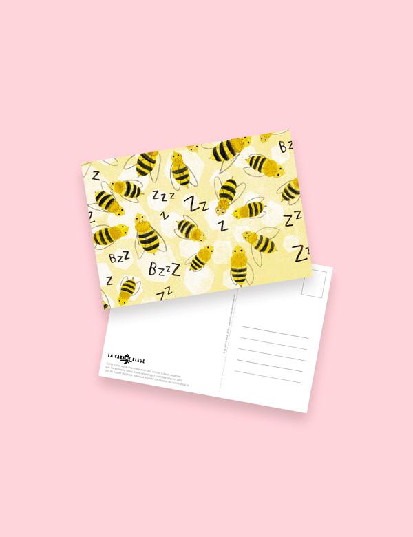 Carte postale – Suis du doigt l'abeille
